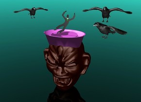 a 100 inch tall  head.a 25 inch tall and 73 inch wide and 50 inch deep  violet paper cup is -20 inch above the head.the paper cup is -57 inch in front of the head.a 45 inch wide and 2 inch tall violet disk is -5 inch above the cup.a 40 inch tall flat black man is above the disk.sky is turquoise.ground is clear.a 1st 20 inch tall crow is -16 inch above the man.the 1st crow is 4 inch left of the man.the 1st crow is facing southeast.a 2nd 25 inch tall crow is 5 inch right of the man.the 2nd crow is facing southwest.a 3rd 25 inch tall crow is above the 2nd crow.