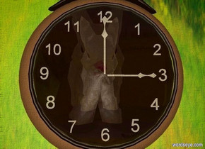 a 2 foot tall shiny rabbit is 1 foot behind a huge watch. the watch faces back.  the watch's crystal is  white [time].  a 8 foot tall 40% dark [forest] cube is -2.5 foot above the rabbit. ambient light is cream.  the watch's number is white. the watch's hour hand is white. its minute hand is white.