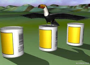 .a 1st can.a toucan is -0.7 inches above the 1st can.a 2nd can is 3 inches in front of the 1st can.it is left of the 1st can.a 3rd can is 3 inches behind the 1st can.it is right of the 1st can.the ground is picture.