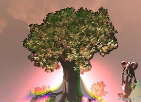 silver ground.pink sun.a tree is 3 feet in the ground.a moon is 10 feet behind the tree.it is -5 feet above the tree.two red lights are 1 feet in front of the moon.two blue lights are above the red lights.a clear humongous flat wall is 1 feet in front of the tree.it is on the ground.a yellow light is left of the moon.a orange light is right of the moon.a rust light is above the moon.a elephant is right of the tree.it is on the ground.a green light is 1 feet right of the elephant.
