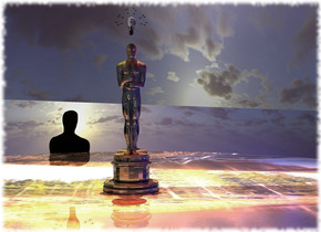 A 750 feet high gold Oscar. The ground is shiny [wild]. The azimuth of the sun is 20 degrees. Camera light is black. A navy light is behind and above the Oscar. Ambient light is black. A maroon light is above and right of the Oscar. The sun is silver. A gold light is on and left of Oscar. A 350 feet high and 1 mile long silver wall is behind Oscar. It is leaning 2 degrees to the left. A light is 750 feet above the wall. 2 navy lights are 700 feet right of Oscar. A 150 feet high shiny white light bulb is 40 feet above Oscar.