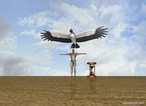 A 2 foot tall man is facing forward. The ground is sand. A vulture is above the man. An hourglass is to the right of the man