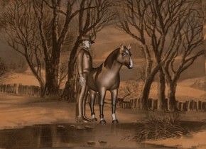 sky is 35000 inch tall location.ground is  location.sun is old gold.ground is 10 feet tall.a 120 inch tall horse is 500 inch above the ground.the horse is facing southeast.a 150 inch tall  cigar brown cowboy is -55 inch left of the horse.the cowboy is facing east.the cowboy is -100 inch in front of the horse.the shirt of the cowboy is cigar brown.the hair of the cowboy is cigar brown.
