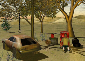 a  car is 5 feet tall [rust]. it faces northwest. the tail light of the car is [broke]. 1st 1.7 feet tall and 1.7 feet deep and 1 feet wide [stone] block is -6 feet behind and -3.3 feet left of the car. it faces northwest. it is on the ground. 2nd 1.8 feet tall and 1.8 feet deep and 1 feet wide [granite] block is 2.9 feet in front of and 2.8 feet right of the 1st block. it faces northwest. 3rd 1.7 feet tall and 1.7 feet deep and 1 feet wide [cement] block is .8 feet right  of and .8 feet behind the 2nd block. it faces northwest. a tree is -7 feet behind and -7 feet right of the 1st block. it faces back. a 5 feet long black chain is -.5 feet behind and -8 feet right of and .4 feet above the car. it leans 90 degrees to the front. a black sickle is -5.7 feet above the chain. it is upside down. the ground is grass. a barrel is -2 feet right of the tree. a boy is in front of the barrel. a 1.8 feet tall and 2.5 feet wide  wood  crate is .6 feet left of and behind the barrel. it is upside down. 1st 2 feet tall grass is in front of the 2nd block. 2nd 3 feet tall grass is left of and .4 feet behind the crate. a oak tree is -14 feet behind and -15 feet right of the 2nd grass. the sun's azimuth is 290 degrees. the sun's altitude is 48 degrees. a 1.3 feet tall gas can is on the crate. it faces right.a 30 feet tall sycamore tree is -15 feet behind and -18 feet left of the tree. a large bush is 5 feet left of the sycamore tree.the sun is 30% copper. the camera light is 20% gold. a [rust] rim is .1 feet in front of and -.7 feet left of the crate. it faces southwest. 1st  tire is 1 feet right of the barrel. it leans 90 degrees to the right. 2nd tire is .2 feet behind the 1st tire. it faces left. it leans to the left. it is -.2 feet above the ground. 3 dim orange lights are -.1 feet above the 1st tire.