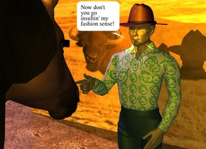 There is a man. the shirt of the man is [peepo]. the rim of the man is green. the hat of the man is brown. the shoe of the man is brown. there is a [western] wall 5 feet behind the man. a horse is 1 foot in front of the man. the horse is facing the man. the ground is dirt. an orange light is above the horse. the sun is lavender. the camera light is gold.