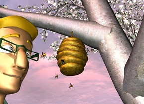 a tree.a hive is -10.5 feet left of the tree.the hive is 5.3 feet above the ground.the hive is facing left.a man is -3 inches left of the hive.he is on the ground.a 1st bee is -8 inches in front of the man.it is 5.2 feet above the ground.the 1st bee is facing the man.a 2nd bee is 2 inches beneath the hive.the man's eye is shiny.a 3rd bee is 4 inches left of the 2nd bee.the 3rd bee is above the 2nd bee.the 3rd bee is facing southwest.the sun is pink.