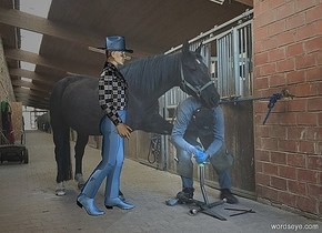 a 850 inch wide and 640 inch tall [OR] wall.camera light is gray.a 330 inch tall 70% dim sea spray blue cowboy is -25 inch in front of the wall.the cowboy is facing east.the cowboy is -500 inch above the wall.the cowboy is -580 inch right of the wall.four 20% dim sea spray blue  lights are  20 inch in front of and -400 inch above the wall.the sea spray blue lights are -370 inch right of the wall.