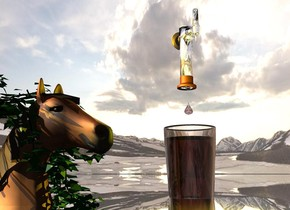 A horse is leaning 30 degrees to the back. It is -6.5 feet above the ground. It is facing southeast. The ground is silver. Common ivy is -3.5 foot above the horse. A large silver beer tap is above and right of the horse. A huge brown beer glass is -5.5 feet above the beer tap. A huge brown drop is 1 foot above the glass. A 4 inch high brown drop is 4 inch above the glass. The sun is silver. Camera light is black. A yellow light is in front of and above the glass. An orange light is left of and 1.5 feet above the horse.