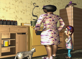 a 5 feet tall 3 feet wide and 2 feet deep woman is in front of a stove. the clothes of the woman is 7 inch tall [floral].the apron of the woman is violet.she faces back. a 35 feet long and 12 feet tall tile wall is behind the stove. 1st wood buffet is right of the stove.  2nd wood buffet is left of the stove. 6  jars are on the 2nd buffet. a 8 inch tall and 1 feet wide [metal] pan is -.4 feet above the stove. a[metal] refrigerator is right of the 1st buffet. a 3 feet tall boy is -.7 feet right of and -.4 feet in front of the woman. he faces the woman. a .86 feet tall brown head of hair is -.95 feet above and  -1.38 feet behind and -1.2 feet left of the boy.it faces the woman. it leans back. a [glass] butterfly is -.7 feet above and -.07 feet left of and -.2 feet in front of the head of hair. it leans 70 degrees to the right.it faces left. the shirt of the boy is 6 inch tall [pattern]. a  clear white zeta is above the pan. 3 cans are -2 feet above the 2nd buffet. the ground is tile. a plant is on the refrigerator. a [ice] cat is left of the woman. it faces the woman. the camera light is wheat.