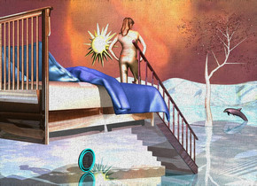 a shiny stairway.a shiny bed is behind the stairway.it is 5 feet above the ground.the bed's pillow is sea spray blue.the bed's blanket is delft blue.a woman is -9.3 feet in front of the stairway.she is 5.9 feet above the ground.the sky is picture.the sky is upside down.the ground is shiny water.a tree is 30 feet in front of the stairway.it is right of the stairway.the tree's tree trunk is shiny.the tree's leaf is rust.a dolphin is 5 feet in front of the tree.it is facing northeast.the dolphin is 10 inches in the ground.pink sun.a plum light is above the bed.a large clock is 5 feet right of the stairway.it is facing left.a giant sun symbol is 35 feet right of the tree.it is 16 feet above the ground.the symbol is facing north.the symbol is 15 feet in front of the tree.