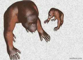a 30 feet tall silver grape.a 1st primate is -25 feet above the grape.a peach light is 1 feet in front of the 1st primate.a 2nd small primate is 1 feet right of the 1st primate.it is facing the 1st primate.a plum light is 1 feet behind the 2nd primate.