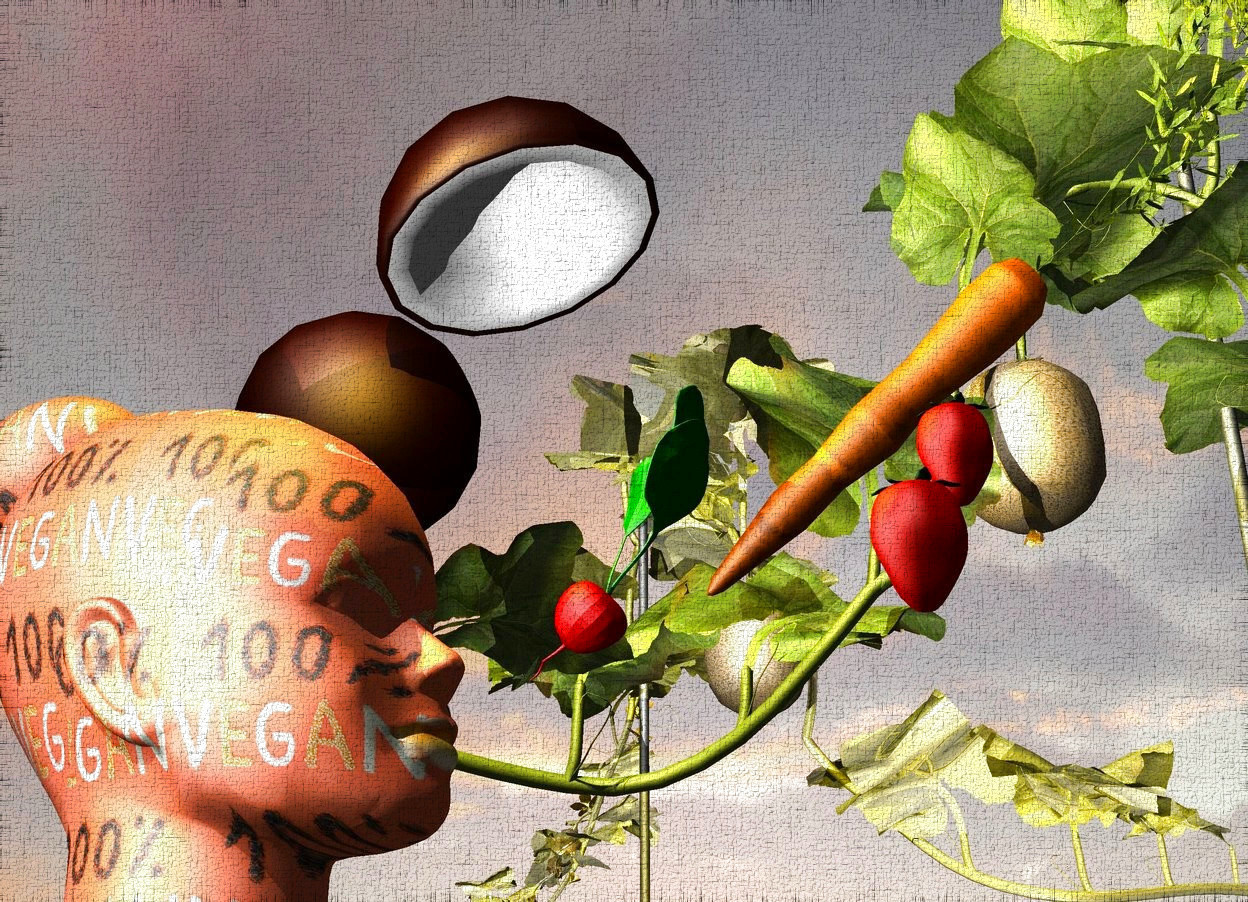 Input text: A head is 2 inch wide [word]. It is in the air. A huge radish is in front of and -6 inch above the head. It is leaning 45 degrees to the front. An [orange] carrot is -4 inch above and -3 inch in front of the radish. It is leaning 40 degrees to the back. A cantaloupe is right of the radish. A shiny yellow cantaloupe is right of the cantaloupe. It is facing north. A strawberry is left of and below the carrot. A strawberry is 2 inch left of and -3.5 inch above the strawberry. A fruit is right of and above the head. It is upside down. It is leaning 20 degrees to the back. Camera light is black. A light is left of and -1 foot above the head. A lemon light is above the head.
