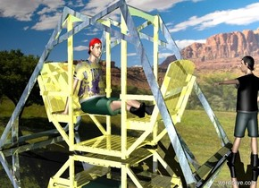 a shiny seat.a 3 feet tall boy is -69 inches left of the seat.he is facing the seat.the boy is 16 inches above the ground.the boy's hat is red.the boy's shirt is picture.the seat's frame is wood.a flat wall is behind the seat.the wall is [park].silver ground.the wall is 1 inches in the ground.a 2nd 3.5 feet tall boy is right of the seat.he is facing left.