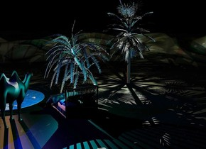 An oasis is in a dark desert. A palm tree is next to the oasis. A large dark camel is behind the oasis. It is facing southwest. It is -3 inch above the ground. A large shiny black palm tree is left of and -70 feet above the palm tree. It is night. A navy light is above the camel. A navy light is left of the tree. A large shiny bed is 2 feet left of the camel. Camera light is black. A light is in the tree. A light is above the light. A green light is above the light. A light is above the light. A cyan light is above the bed. An orange light is on the oasis. A navy light is left of the light.