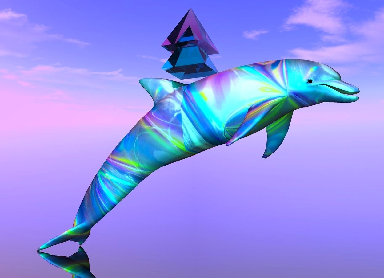 Input text: there is a [holo] dolphin. a 1st clear cyan pyramid is above the dolphin. a 2nd clear hot pink pyramid is in the 1st pyramid. the ground is clear. the sun is lavender. the camera light is cyan.