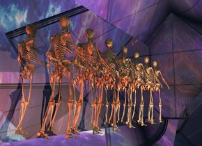 a 1st skeleton.a 2nd skeleton is behind the 1st skeleton.a 3rd skeleton is behind the 2nd skeleton.a 50 feet tall clear octahedron is -25 feet above the 2nd skeleton.the sky is picture.clear ground.a 4th skeleton is in front of the 1st skeleton.a 5th skeleton is in front of the 4th skeleton.a 6th skeleton is in front of the 5th skeleton.a 7th skeleton is in front of the 6th skeleton.a flat silver wall is 6 inches right of the 4th skeleton.it is facing left.a peachy pink light is 2 feet left of the 4th skeleton.the camera light is dim.a rust light is 1 feet behind the 3rd skeleton.a clear window is 5 feet in front of the 7th skeleton.it is 20 feet tall.