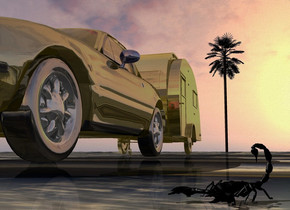 A gold car is in front of a gold camper. Camera light is black. The ground is 4 feet wide [sand]. The wheel of the car is shiny. The sun is silver. A palm tree is 85 feet behind the camper. A scorpion is  2.2 foot right of and 10 inch in front of the car. It is facing northeast. It is on the ground.