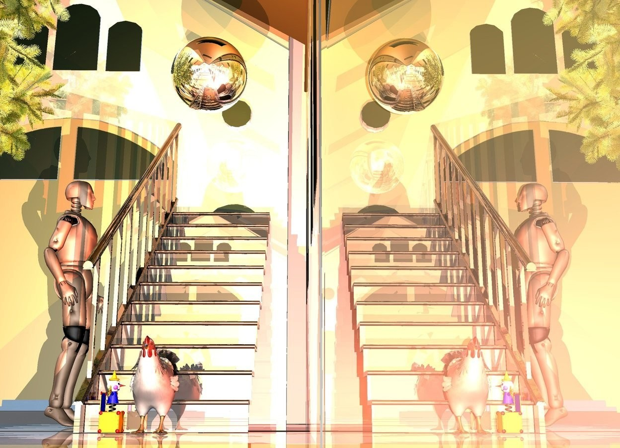 Input text: a shiny structure.a shiny black stairway is -10 feet behind the structure.a man is 1 feet left of the stairway.he is facing right.a large silver sphere is -2 feet above the stairway.a bird is in front of the stairway.a peachy pink light is 1 feet in front of the bird.a small tree is left of the man.a rust light is 1 feet right of the bird.a gold light is above the sphere.the man's joint is black.a toy is left of the bird.it is facing the bird.