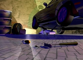 A black shiny car is -2 foot above and -2 foot left of a large shiny [metal] car jack. It is leaning 10 degrees to the right. It is -0.1 inch above the ground. A dark large [dirty] wall is 4 feet in front of the car. The ground is 10 inch wide [concrete]. A shiny car battery is in front of and right of the car. It is leaning 20 degrees to the back. A car tire is in front of and -1 foot right of the car battery. It is facing southwest. It is on the ground. A hammer is 14.4 feet behind and -0.5 inch right of the tire. It is leaning 90 degrees to the front. It is facing east. It is -0.1 inch above the ground. Camera light is black. A lemon light is 4 feet above and 2 feet left of and behind the car. A cream light is behind and left of the car. A light is in front of and -1 foot right of the car. The sun is black. A beetle is 2 inch right of the hammer. It is -0.15 inch above the ground. A dim cyan light is left of and behind and above the car. 2 dim crimson lights are behind and left of the hammer. Ambient light is navy. A shiny black container is right of the tire. A screwdriver is 12.5 feet behind and -1.4 foot  right of the container. It is -0.5 inch above the ground. It is leaning 2 degrees to the front.