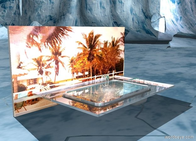 Input text: There is a shiny pool. The water of the pool is water. A [image-11865] wall is to the left of the pool.  The wall is 40 feet wide. The wall is 20 feet tall. The wall is facing the pool. A pink light is above the pool.