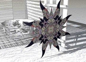 A flat [swirl] star. The ground is paper. A paper building is behind the star. A large paper crown is -4 feet in front of the building. A [paper] rose is in front of and -1 foot left of the crown. It is leaning right.