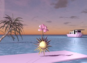 The very large pink flower is 4 inches in the star . The star is on a large white carpet. The ground is water. It is afternoon. . The small tree is 30 feet behind the star . A boat is 100 feet behind the star. The boat is 100 feet to the right of the tree. The ambient light is purple. The light is two feet above the boat.