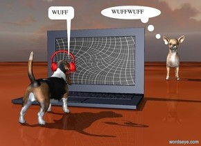 a 100 inch tall laptop computer.the display screen of the laptop is [grid2].a 1st 60 inch tall dog is in front of the laptop.the 1st dog is facing the laptop.ground is [wood].a 22 inch tall red headset is -20 inch above the 1st dog.the headset is -13 inch right of the 1st dog.the headset is facing the laptop.a 2nd 120 inch tall 2nd dog is 400 inch behind the 1st dog.the 2nd dog is 20 inch right of the laptop.