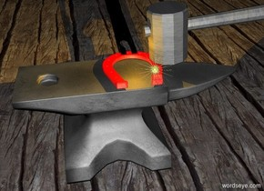 a large anvil is on a [wood] floor. a shiny super red horseshoe is on the anvil.it faces left. a 2 foot tall and 1 inch wide black item is -.1 foot left of the horseshoe. it leans 80 degrees to the right. it is -.1 foot above the horseshoe.  a 1.5 foot tall [metal] mallet is above and -.2 foot behind the horseshoe. it faces right. it leans 95 degrees to the right. a tiny tangerine light is above the horseshoe. a .3 foot tall shiny yellow star is  right of and -.2 foot in front of the mallet. it is -.25 foot beneath the mallet. it is night.
