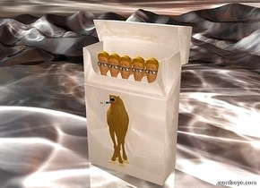 a 1 foot tall dull 10% camel cigarette pack. a 1st .8 foot tall and .2 foot wide and .1 foot deep man is -1 foot above and -.11 foot in front of the cigarette pack. a 2nd .8 foot tall and .2 foot wide and .1 foot deep man is -.125 foot right of the 1st man. 2nd man is -.81 foot above the 1st man. 3rd .8 foot tall and .2 foot wide and .1 foot deep man is -.125 foot right of the 2nd man. he is -.81 foot above the 2nd man. 4th .8 foot tall and .2 foot wide and .1 foot deep man is -.125 foot left of the 1st man. he is -.81 foot above the 1st man. a 5th .8 foot tall and .2 foot wide and .1 foot deep man is -.125 foot left of the 4th man. he is -.81 foot above the 4th man. a .5 foot tall flat camel is in front of and -.9 foot above the cigarette pack. ground is 100 feet wide and 100 feet deep and 1 foot tall. ground is shiny [smoke]. camera light is dim. ambient light is linen. a .08 foot tall flat man is -.085 feet above and -.025 foot in front of and -.0825 foot to the left of the camel. he leans 100 degrees to the right.