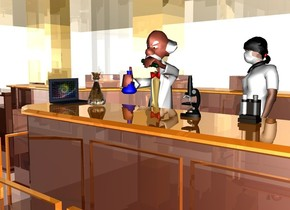 a shiny room.a small man is -4 feet above the room.a small microscope is -16.1 inches above the man.it is 1.5 feet right of the man.the microscope is 14 inches in front of the man.a small computer is 2 feet left of the microscope.it is facing right.the computer's display screen is [grid].a small test tube holder is 6 inches right of the microscope.a small glass flask is 3 inches right of the computer.a small white woman is 1 feet right of the man.she is facing southwest.