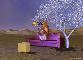 the very large squirrel is on the couch. The umbrella is -2 feet right of the squirrel. The umbrella is -2 feet above and -1.6 feet in front of the squirrel. The blue light is 3 feet in front of the squirrel.the television is 4 foot in front of the squirrel. the television is on the ground. the television is facing the squirrel. The small tree is -5 feet to the right of the couch. the moon is in the sky