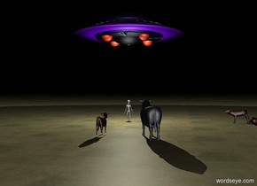 Unreflective Ground is grass. It is night. An alien. A ufo 10 feet above the alien. A white 1st light is on the ufo. A white 2nd light is 5 feet above the alien. A 1st cow 5 meters right of the alien is facing left. A 2nd cow 5 meters south of the 1st cow facing the alien. A 3rd cow 5 meters south of the alien is facing north. A 4th cow 1 meter right of the 3rd cow facing the alien. A barn 20 meters infront of 3rd cow.