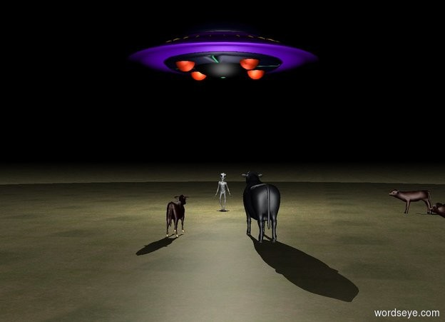 Input text: Unreflective Ground is grass. It is night. An alien. A ufo 10 feet above the alien. A white 1st light is on the ufo. A white 2nd light is 5 feet above the alien. A 1st cow 5 meters right of the alien is facing left. A 2nd cow 5 meters south of the 1st cow facing the alien. A 3rd cow 5 meters south of the alien is facing north. A 4th cow 1 meter right of the 3rd cow facing the alien. A barn 20 meters infront of 3rd cow.