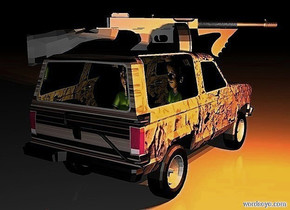 a 100 inch tall  bronco.the bronco is 80 inch wide [dust].it is night.the window of the bronco is clear white.three orange lights are -20 inch above the bronco.a 60 inch tall man is -70 inch above the bronco.the man is facing north.the man is -170 inch in front of the bronco.a yellow light is 8 inch  behind the man.a 50 inch tall  gun is -20 inch above the bronco.the gun is facing southwest.