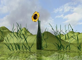 the giant glass bottle. the ground is grass.  the 5 feet tall flower is -46 inches above and -6.8 inches in front of the bottle. the bottle is shiny. the 2nd 3 feet tall grass is in front of the bottle. the 3rd 3 feet tall grass is to the right of the bottle