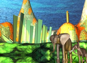 a silver meadow is -1 foot above a [green] location. the ground is 1000 feet tall. a small animal is on the meadow. an elephant is left of the animal. sky is [cloud]. a green light is above the elephant. a gold light is right of  the animal.