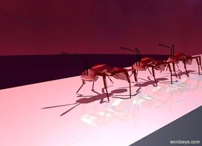 shiny ground is 400 feet tall and 20 feet wide. sun is maroon. a light is 30 feet above the ground. a 5 foot tall shiny insect. a 5 foot tall shiny  ant is behind the insect. a 5 foot tall shiny  ant is behind the ant.
