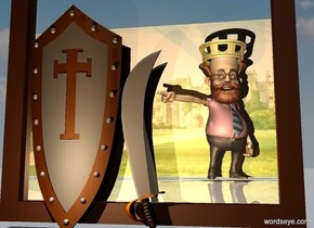 a shield. a small sword is right of the shield. it is upside down. a large mirror is behind the sword. a professor is 10 feet in front of  the sword. it faces northeast. camera light is black. a cream light is in front of the shield. a large gold crown is -.6 foot above and -4.1 feet left of the professor.  ground is shiny. it is noon. a dim old gold light is behind the professor. ambient light is black. a [castle] wall is 1 foot in front of the professor.