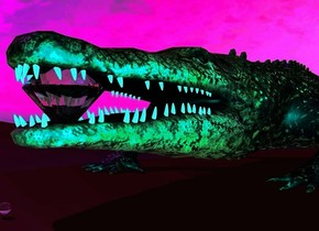 There is an alligator. A marble is in front of the alligator. A very giant diamond is 2 inches behind the marble. The diamond is 8 inches above the ground. The sun is purple. The ground is brown. A blue light is above the alligator. The camera light is teal.