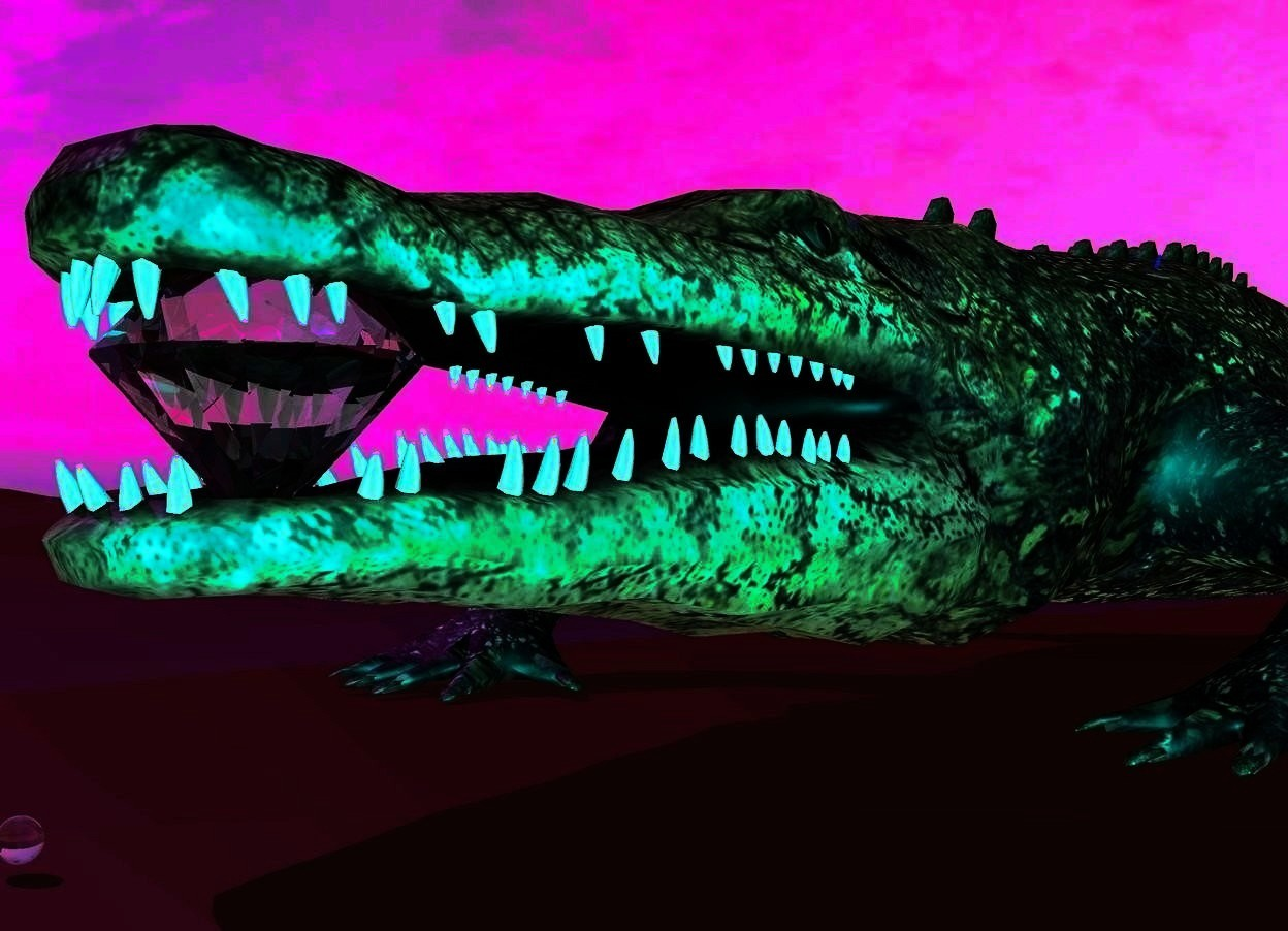 Input text: There is an alligator. A marble is in front of the alligator. A very giant diamond is 2 inches behind the marble. The diamond is 8 inches above the ground. The sun is purple. The ground is brown. A blue light is above the alligator. The camera light is teal.