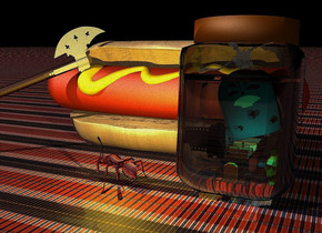 a 10 feet tall jar leans 4 degrees to the back. a 23 feet long hot dog is behind and -7 feet left of the jar. the meat of the hot dog is rust. a tiny car is in the jar. 2 orange lights are above the car. a  large shiny radio is above the car. it leans right. 2 cyan lights are 3 inches  in front of the radio.a metal armor is right of the car.it faces southwest. 2 copper lights are behind the armor.a shiny skeleton is above and -6 feet right of the armor. it leans 30 degrees to the right. 2 white lights are -1 feet above and in front of  the skeleton. the ground is 6 feet tall [texture]. a huge battle ax is -7 feet left of and -8 feet above and -4 feet in front of the hot dog. it faces southeast. it leans 70 degrees to the left. the bun of the hot dog is 15 feet long [bread]. 2 feet tall shiny  film canister is -8 feet above and -3.4 feet left of and -2 feet in front of the jar. 2 silver lights are in front of and -.7 feet above the film canister. it leans back. the camera light is dim. 2 sky blue lights are -1 feet left of and -9 feet above and -1.5 feet in front of the jar. the sun's azimuth is 220 degrees. a 2.5 feet tall shiny ant is 2 feet  left of and -4 feet in front of the jar. it faces the battle ax. a lemon light is above the ant. the sky is invisible.