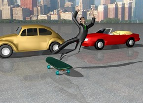 a big skateboard. the ground is [asphalt]. the man is above and -16 inches to the right of the skateboard. the background is city. the 1st car is 7 feet behind the skateboard. it is facing to the left. the 2nd car is 3 feet to the right of the 1st car. it is facing to the 1st car