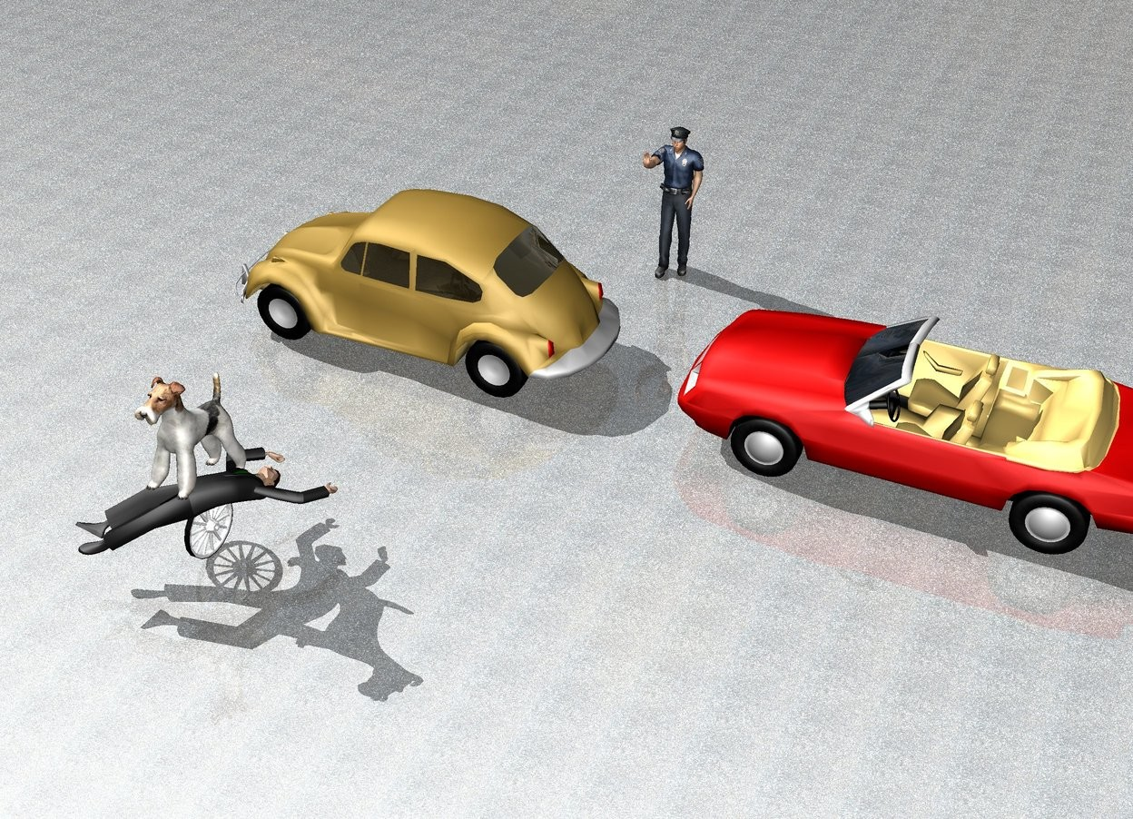 Input text:  the ground is [asphalt]. the man is -9 inches above the wheel. he is face up. the background is city. the 1st car is 7 feet behind the man. it is on the ground. it is facing to the left. the 2nd car is 3 feet to the right of the 1st car. it is facing to the 1st car. the large dog is -10 inches above the man. the dog is leaning 20 degrees to the back. the policeman is 18 feet behind and 5 feet to the right of the wheel.