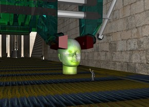 a 6 feet tall head. it is facing north.the head is [abstract].an extremely enormous clear cyan vise is -2 feet above and -10 feet to the right of the head. the head. the vise is upside down. a tiny man is 6 feet behind the head.the ground is 300 feet wide.the ground is field.the sky is cloud.the sky is upside down.the sun is orange..