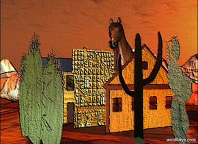 3 flat houses are 10 feet tall. they face southeast. the houses are [card]. 3 flat cacti are 10 feet tall. the cacti are in front of the houses. they face southwest. ground is 1500 feet wide and 1000 feet deep. a 15 foot tall horse is behind the houses. a copper light is east of the houses. a celadon green light is west of the cacti. sun is old gold. ground is [desert].