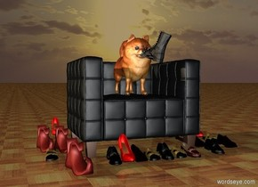 it is sunset. the 2 feet tall dog is on the 1st seat. the ground is [floor]. 7 shoes are in front of the seat. 6 shoes are left of the seat. 5 shoes are right of the seat. 4 shoes are 6 inches to the right of the 5 shoes. 3 shoes are to the left of the 6 shoes. a boot is -1 feet above and -.5 feet in front of and -.87 feet right of the dog. the boot faces northwest. it leans back