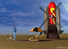 The red hotdog is 4 feet in the windmill. It is leaning 90 degrees to the left. It is 9 feet tall. The ground is sand. The large umbrella is 8 feet in front of the windmill. The small [fabric] floor is in front of the umbrella. The chair is on the floor. It is to the right of the umbrella. It is facing southwest. The man is 5 feet to the left of the floor. He is facing left. A dog is 1 foot left of the man. It is facing left.