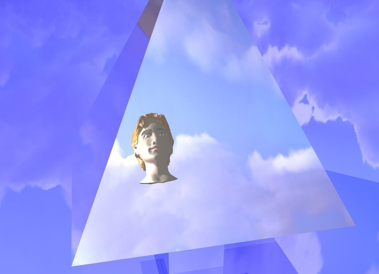 Input text: the giant silver pyramid is on the silver cube. the ground is 70% blue and shiny. the big head is 4 feet in front of and -1 feet above the pyramid. it is facing to the pyramid