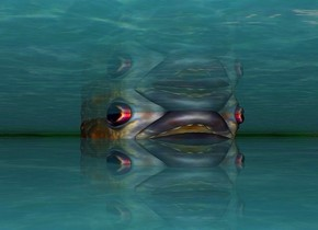 shiny  water.ground is clear malachite green.a 100 inch tall and 110 inch wide and 500 inch deep piranha is -45 inch above the water.the water is 50 inch tall [water].