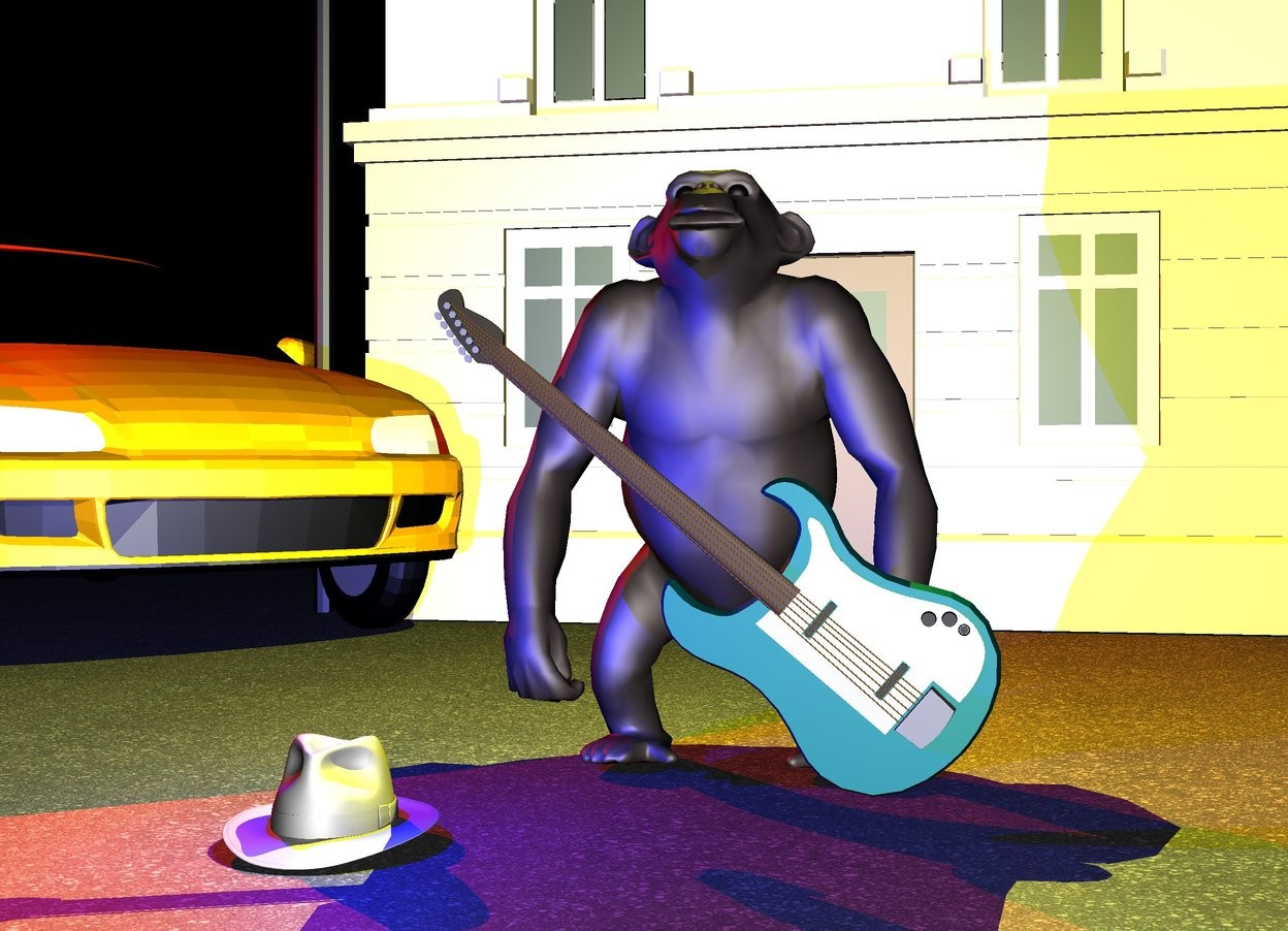 Input text: it is night. the ground is unreflective. the ground is [asphalt]. a chimpanzee. a small building is 6 feet behind the chimpanzee. a car is 1 feet to the left of and 0.5 feet behind the chimpanzee. it is facing to the chimpanzee. a guitar is in front of the chimpanzee. it is leaning -40 degrees to the ground. a hat is in front of and to the left of the chimpanzee. the red light is on the car. the blue light is on the hat. the yellow light is on the chimpanzee
